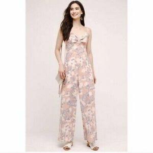 Anthropologie Paper Crown Pink Floral Jumpsuit L